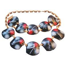 Vintage 1950's Mid Century Enamel on Copper Bracelet and Necklace Set
