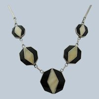 Vintage In lay Chrome-Ebony Modernist Disk Panel Necklace