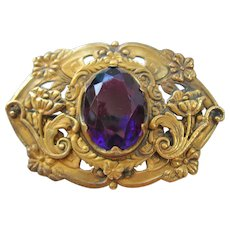 Vintage Large Art Nouveau Brass and Purple Glass Sash Pin Brooch