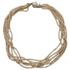 Vintage Early Six Strand Simulated Pearl Necklace with Pot Metal /Rhinestone Closure