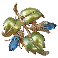 Vintage Gold Washed Enamel Floral and Rhinestone Brooch-Pin