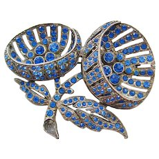 Vintage Pot Metal Cornflower Blue Floral Brooch-Pin