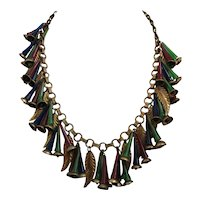 Vintage Rare Early Unsigned Miriam Haskell Multi Colored Trumpet Tube Bead and Brass Necklace
