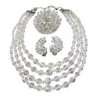 Vintage Crystal Set-Four Strand Necklace-Brooch and Earrings