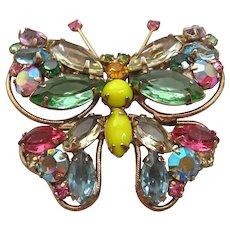Vintage Pastel Rhinestone Butterfly Brooch/Pin