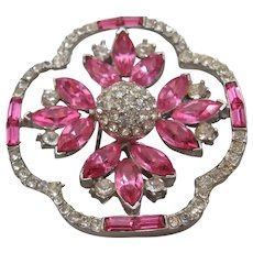 Vintage Clear and Pink Rhinestone Brooch-Pin