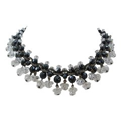 Vintage Art Deco Rock Crystal and Black Glass Choker Necklace