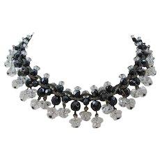 Vintage Art Deco Rock Crystal and Black Glass Choker Necklace