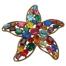 Vintage Czech Multi Stone Star Brooch-Pin