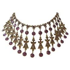 Vintage Goldette Gold Tone and Purple Bib Necklace