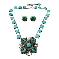 Vintage Peking Glass Necklace and Earrings Set