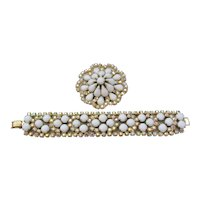 Vintage White and Aurora Rhinestone Brooch and Bracelet Set
