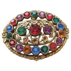 Vintage Czech Brass and Multi Colored Glass Oval Brooch-Pin