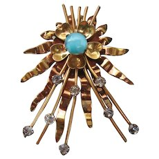 Vintage Mid Century Gold Washed Atomic Starburst Glass and Rhinestone Brooch-Pin