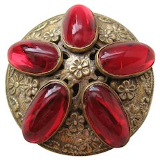 Vintage Sandor Crimson Red Cab and Brass Brooch-Pendant