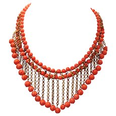 Vintage Art Deco Salmon Colored Glass Melon Ball and Brass Bib Necklace