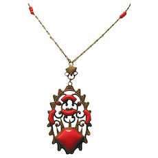 Vintage Czech Brass and Red Glass Necklace