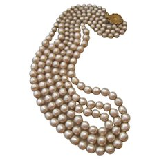Vintage Miriam Haskell Simulated Three Strand Peal Necklace
