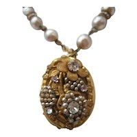 Vintage Gold tone and Simulated Pearl Encrusted Photo Locket Bracelet