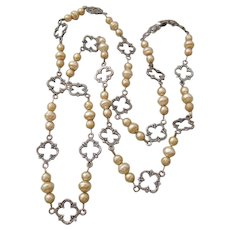 Cini Sterling and Simulated Pearl Opera Length Necklace