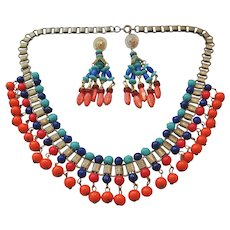 Vintage Egyptian Style Glass and Brass Necklace