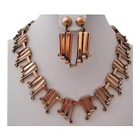 Vintage Copper Statement Necklace and Earrings
