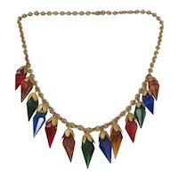 Vintage Art Deco Brass and Multi Colored Glass Necklace