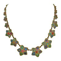Vintage Art Deco Brass-Enamel and Glass Star Necklace