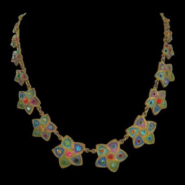 Vintage Art Deco Brass-Enamel and Glass Star Necklace
