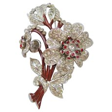 Vintage Rhinestone and Enamel Floral Trembler Brooch-Pin