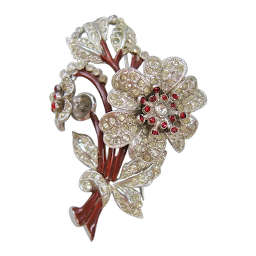 Vintage Rhinestone and Enamel Floral Trembler Brooch-Pin