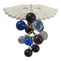 Vintage Early Plastic and Glass Ball Winged Brooch-Pin