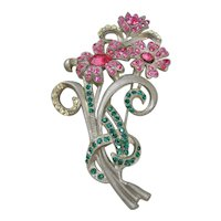 Vintage Large Floral and Rhinestone Brooch-Pin