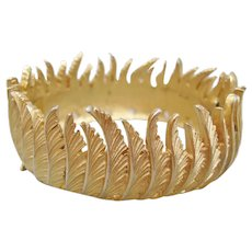Vintage Crown Trifari Gold tone Leaf Bangle Bracelet