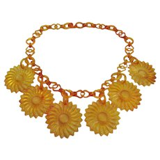 Vintage Early Plastic Sunflower Necklace