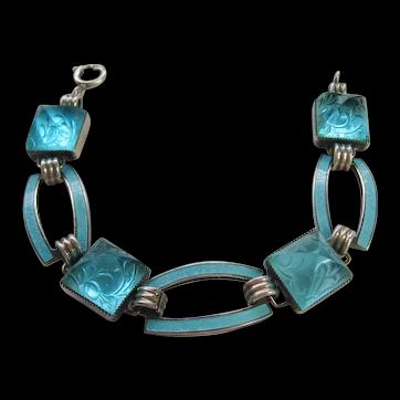 Vintage Rare Art Deco Sterling Light Blue Etched Sugar Loaf Cab/ Guilloche Enamel Bracelet