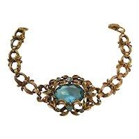 Vintage Gold Washed Floral and Vine Blue Glass Bracelet