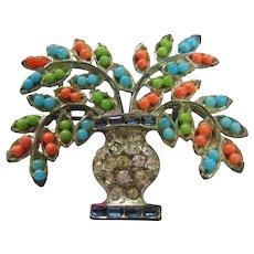 Vintage Pot Metal Flower Basket Brooch-Pin