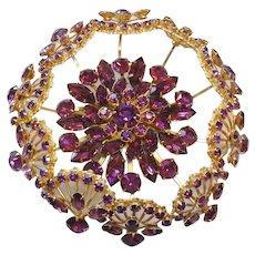 Vintage Huge Purple Multi Tiered Brooch- Pin