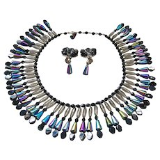 Vintage Carnival Art Glass Bead Bib Necklace Set
