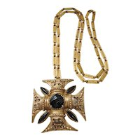 Vintage Florenza Maltese Cross Necklace with Chain