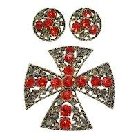 Vintage Maltese Cross Brooch Pendant-Earring Set with Orange and Grey Rhinestones