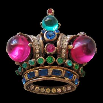 Vintage Trifari Sterling Crown Brooch-Pin