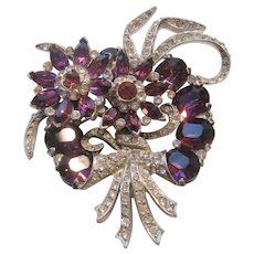 Vintage Large Purple and Clear Statement Rhinestone Floral Brooch-Pin