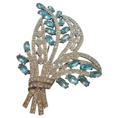 Vintage Large Aqua Blue and Clear Rhinestone Floral Spray Brooch-Pin