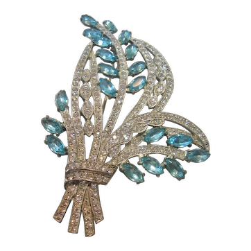 Vintage Large Aqua Blue and Clear Rhinestone Floral Spray Brooch-Pin