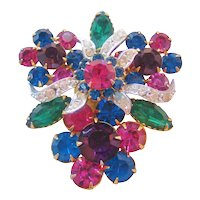 Vintage Multi Color Rhinestone Brooch-Pin