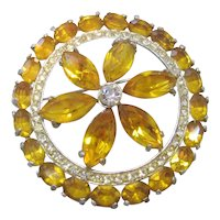 Vintage Yellow/Amber and Clear Rhinestone Circle Brooch-Pin