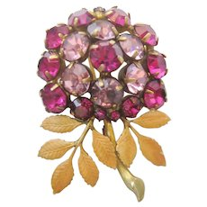Vintage Hobe Purple and Lavender Floral Brooch -Pin