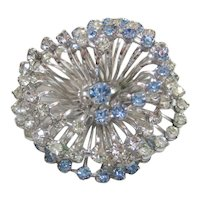 Vintage Blue and Clear Atomic Rhinestone Brooch-Pin